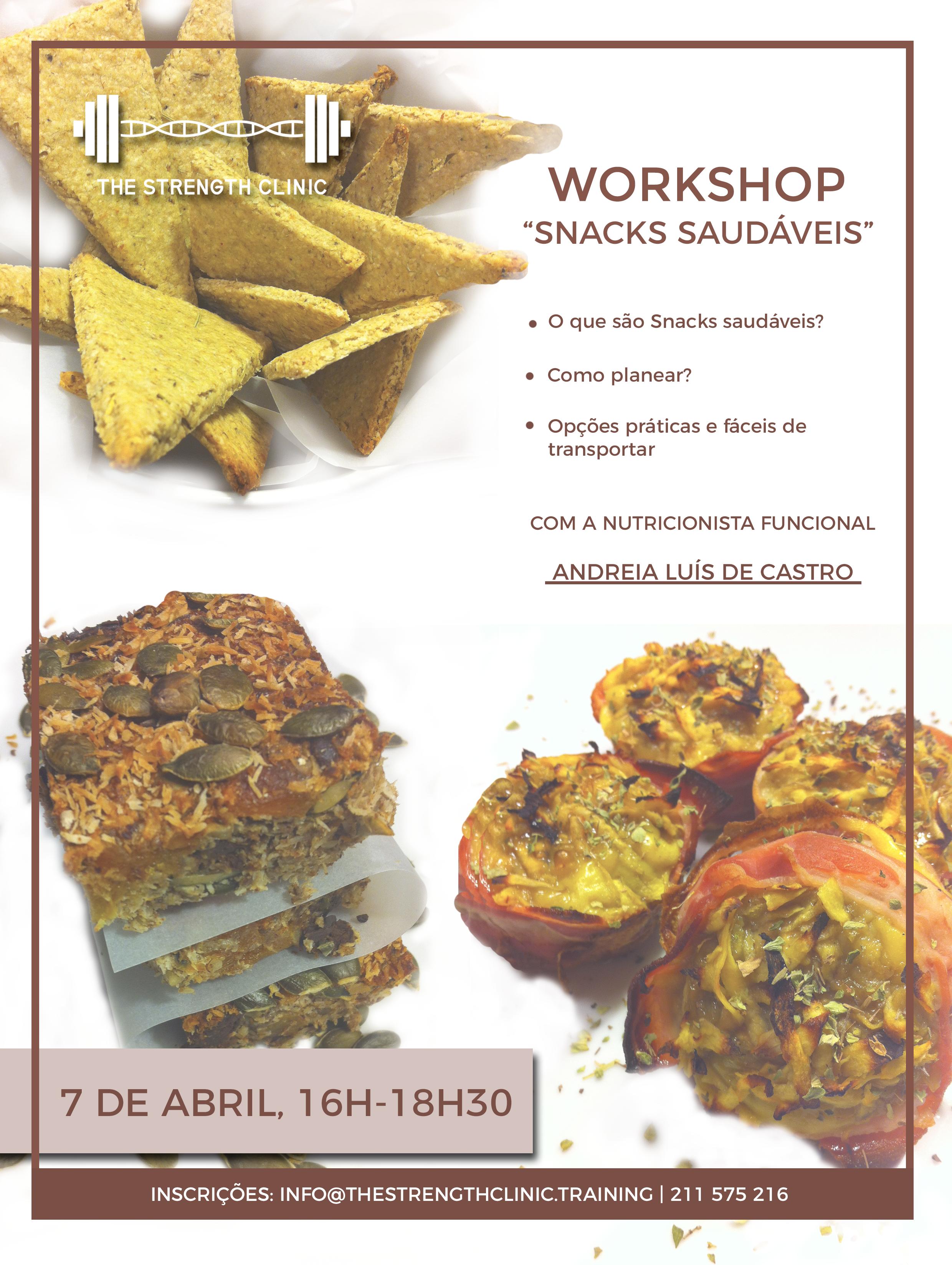"Flyer Workshop Nutrição ""Snacks Saudáveis"""